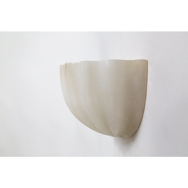 1980s Vintage Carved Alabaster Shell Sconces by Boyd - a Pair For Sale - Image 5 of 11