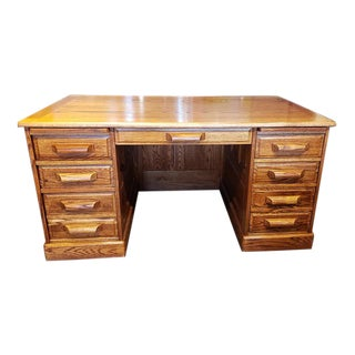 Vintage American Oak Executive Desk For Sale