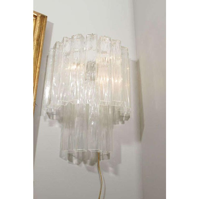 Transparent Murano Waterfall Sconces - A Pair For Sale - Image 8 of 12