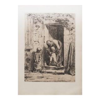 "Jean-François Millet, ""Maternal Duties"" 1959 Large Hungarian Photogravure For Sale"