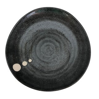 Hand-Thrown Black Glazed Ceramic Plate With White Dots For Sale
