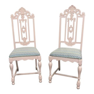Early 20th Century Jacobean Pink Lacquered Side Chairs- a Pair For Sale
