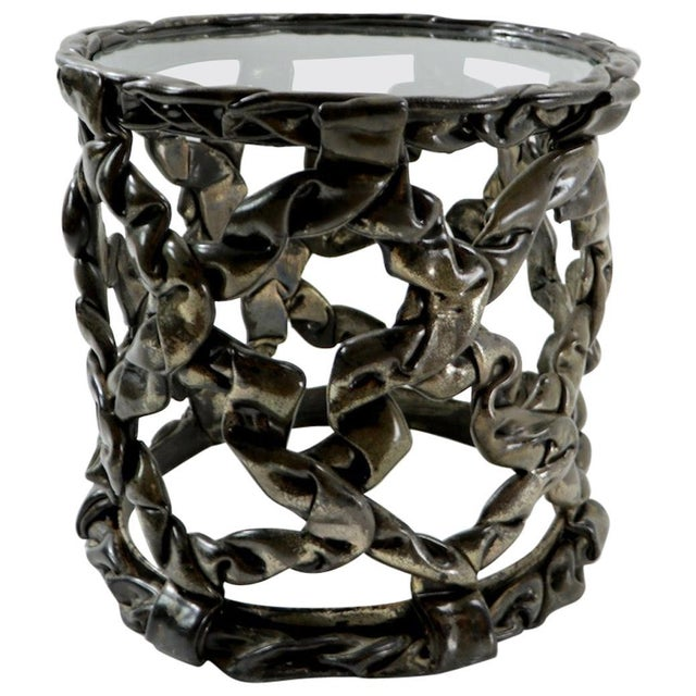 Brutalist Drum Table of Resin and Glass For Sale - Image 10 of 10