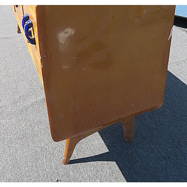 Mid 20th Century Mid Century Italian Glass Top Credenza For Sale - Image 5 of 8