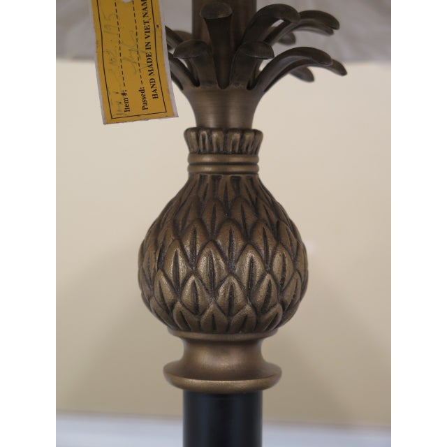 1990s Vintage Brass & Ebony Pineapple Table Lamp For Sale - Image 4 of 9