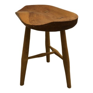 Late 20th Century Vintage Handmade Low Wooden Stool For Sale