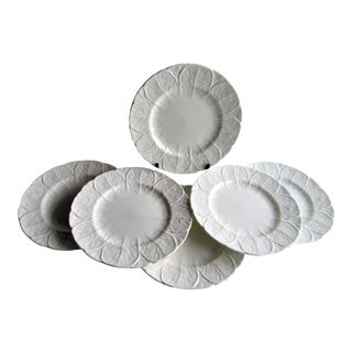 "Coalport English Bone China, 8"" Plates, Countryware, Cabbage Leaf, White - Set of 6 For Sale"