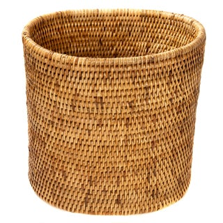 Artifacts Rattan Oval Waste Basket For Sale