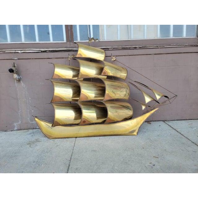 1970s Vintage Brass Ship Sculpture For Sale - Image 13 of 13