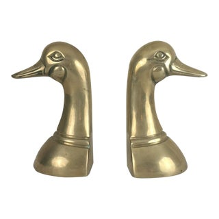 20th Century Traditional Brass Duck Bookends - a Pair
