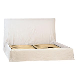 White Fabric Bed Frame Queen For Sale