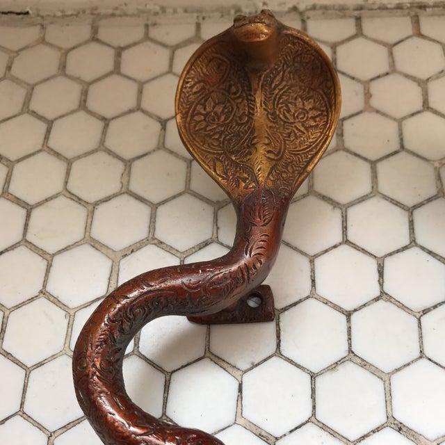 Hollywood Regency Brass Cobra Door Handles- a Pair - Image 6 of 11