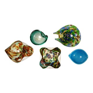 Set 5 Pieces Italian Murano Glass Dishes AVeM Tutti Frutti & Others Turquoise Blue Green For Sale