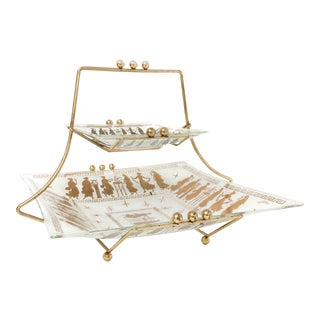 Mid Century Retro 2 Tiered Glass and Brass Tray Set For Sale