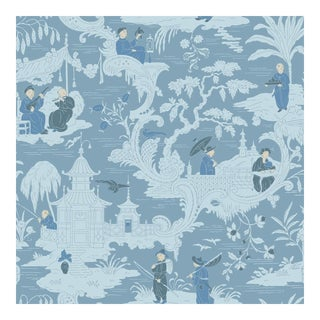 Chinese Toile Blue Cole & Sons Wallpaper Sample For Sale