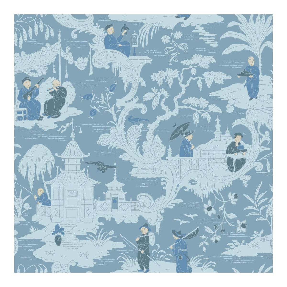 Sample Chinese Toile Blue Cole Sons Chinoiserie Wallpaper