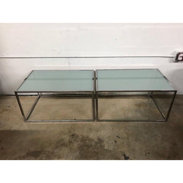 pair of milo baughman thin line chrome and glass coffee cocktail or end table