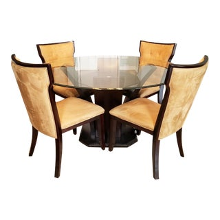 Late 20th Century Round Glass-Top Dining Table & 4 Ultra-Suede Chairs For Sale