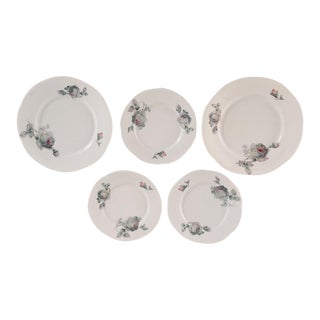 Cottage Style Gray Rose Pattern Dessert & Bread Plates - Set of 5