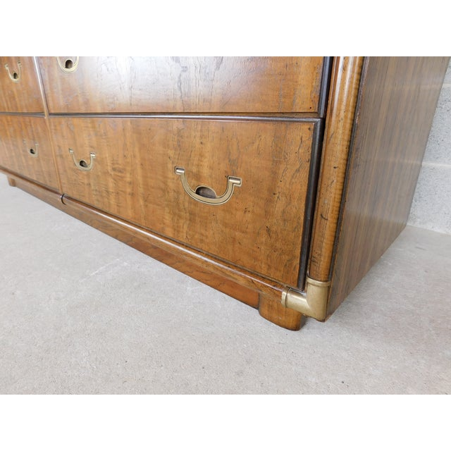 Late 20th Century Drexel Accolade Campaign Style 7 Drawer Dresser 905-120 For Sale - Image 5 of 13