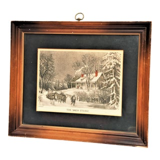 "Antique Framed Currier and Ives Print ""The Snow Storm"""