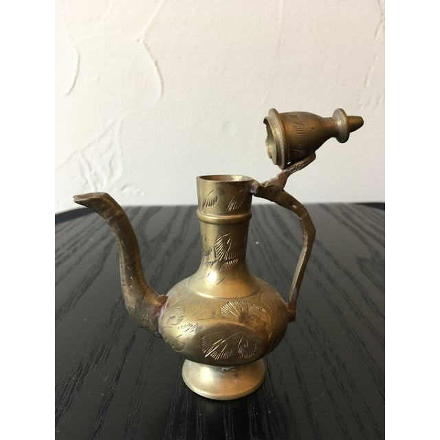 Mid-20th Century Islamic Hinged Lidded Etched Brass Pitcher For Sale - Image 4 of 10