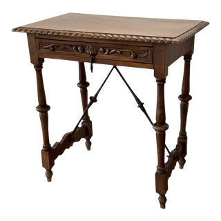 Spanish 1900s Walnut Side Table Single Drawer With Iron Stretcher For Sale