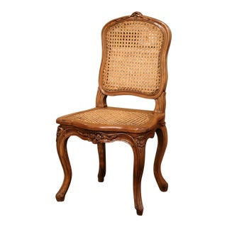 Mid-20th Century French Louis XV Carved Walnut and Cane Child Chair For Sale