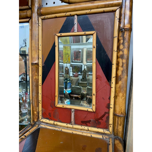 Mid-Century Modern 1950s Mid-Century Oriental-Inspired Bamboo Mirror With Shelves For Sale - Image 3 of 4