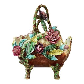 1880s French Majolica Flowers and Insects Basket For Sale