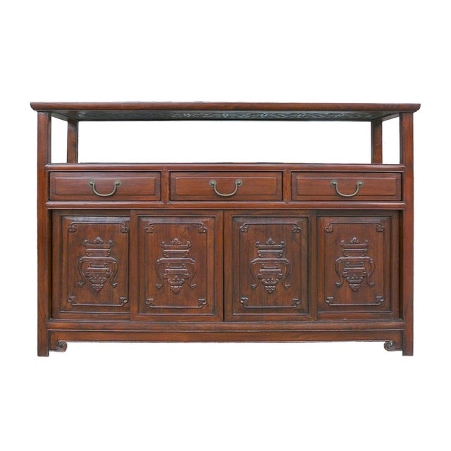 Chinese Glass Top High Credenza - Image 1 of 8