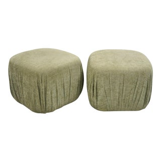 Late 20th Century Vintage Precedent Sherrill Green Ottomans- A Pair For Sale