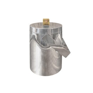 1970 French Round Silver Ice Bucket With Square Brass Handle For Sale