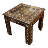 Image of Moroccan Metal Inlay Square Top Side Table For Sale