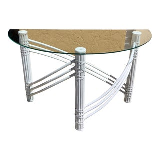 1970s Palm Beach Hollywood Regency McGuire Style White Bamboo Console Table For Sale