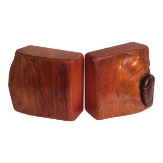 Live Edge Organic Wood Bookends - a Pair For Sale