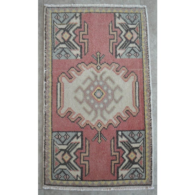 Turkish Small Rug Hand Knotted Mat - 1'9'' X 2'11'' For Sale - Image 4 of 4