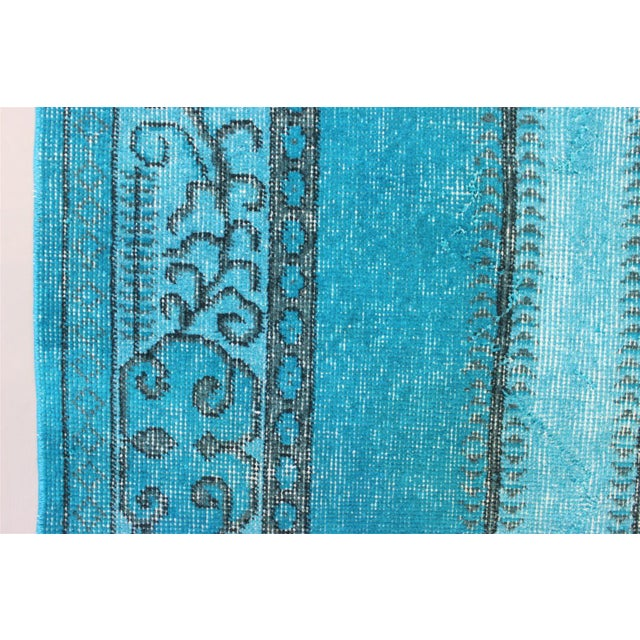 Turkish Over-Dyed Turquoise Rug - 5′5″ × 9′3″ - Image 7 of 11