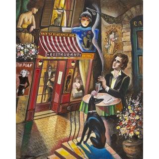 """Erik Freyman, """"A Poet Dreams in Paris"""", Parisian Cityscape Painting"""