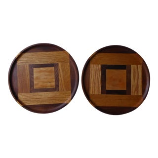 Hand Designed Inlaid Wood Trays - A Pair For Sale