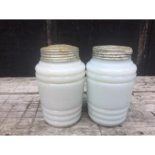 White Milk Glass Salt & Pepper Shakers - a Pair Preview