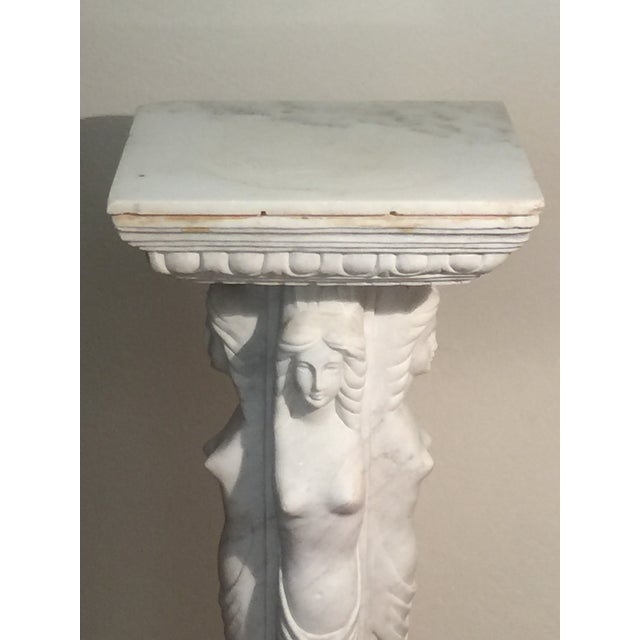 European Maiden Marble Pedestal For Sale - Image 11 of 11
