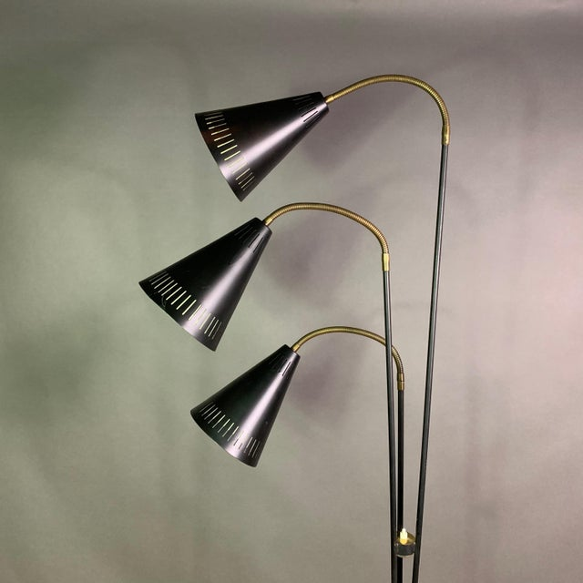 Brass Danish 1960s Lacquered Metal & Brass 3-Cone Floor Lamp For Sale - Image 7 of 10