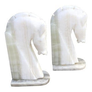 Art Deco Carved Alabaster Horse Head Bookends - a Pair