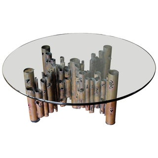Mid-Century Modern Brutalist Masciarelli for Regent Glass Coffee Table Evans Era