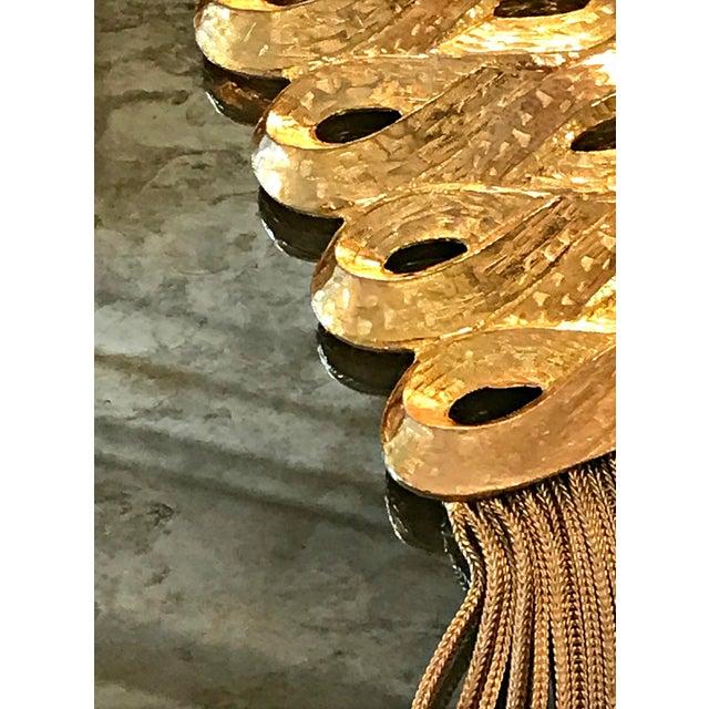 Art Deco Vintage 1960s Gold Medallion Pendant Dangles Fringe Sandor Large Statement Necklace For Sale - Image 3 of 7