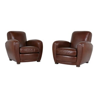 Pair of French Art Deco-Style Leather Club Chairs For Sale