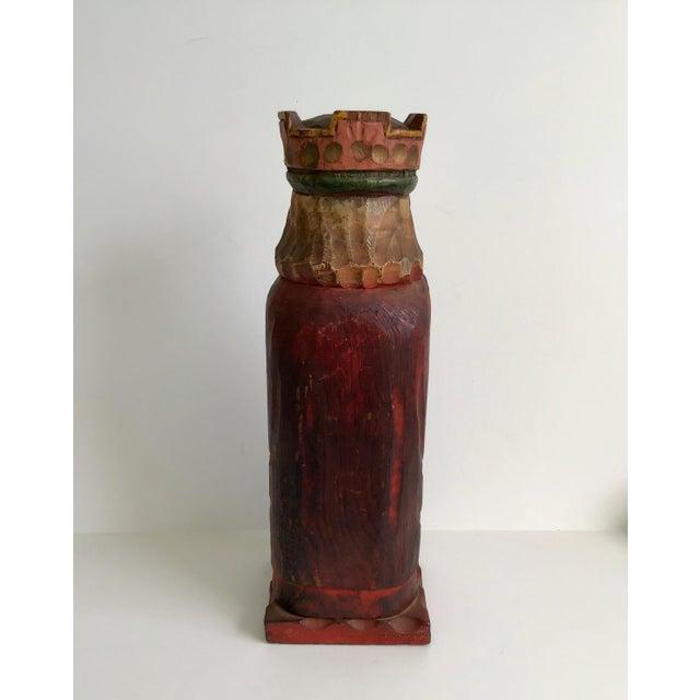 Vintage Carved Wood King Wine Bottle Holder For Sale - Image 4 of 7