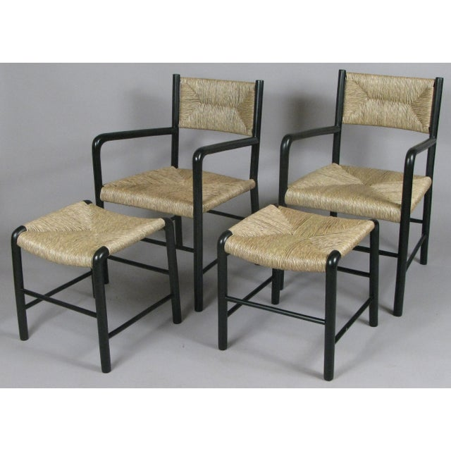 1930s Italian Lacquered Birch Chairs and Ottomans- 4 Pieces For Sale - Image 11 of 11