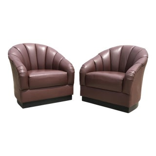 1980s Vintage Rolling Plinth Base Ward Bennett Brickell Pleated Channel Leather Club Chairs - a Pair For Sale